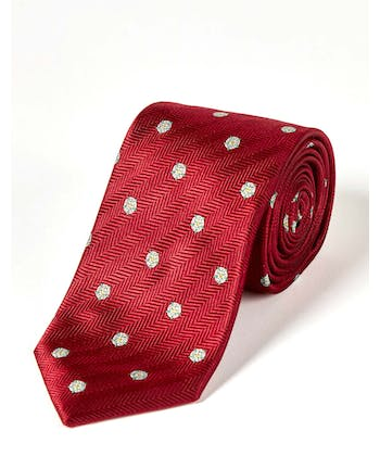 Yorkshire Roses on Red - Woven Silk Tie