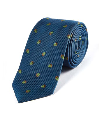 Acorns on Navy - Woven Silk Tie