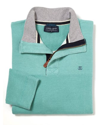 a3a15959 Washed Pique Half-Zip Sweatshirt - Aqua ...