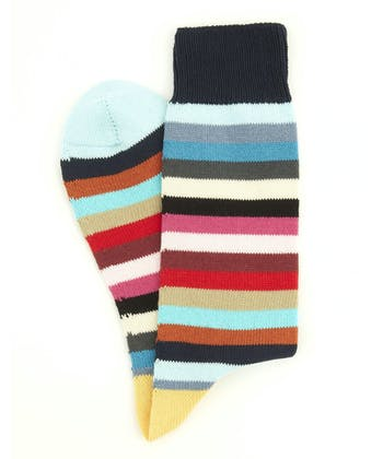 Striped Cotton Socks - Aqua Toe Multi Stripe