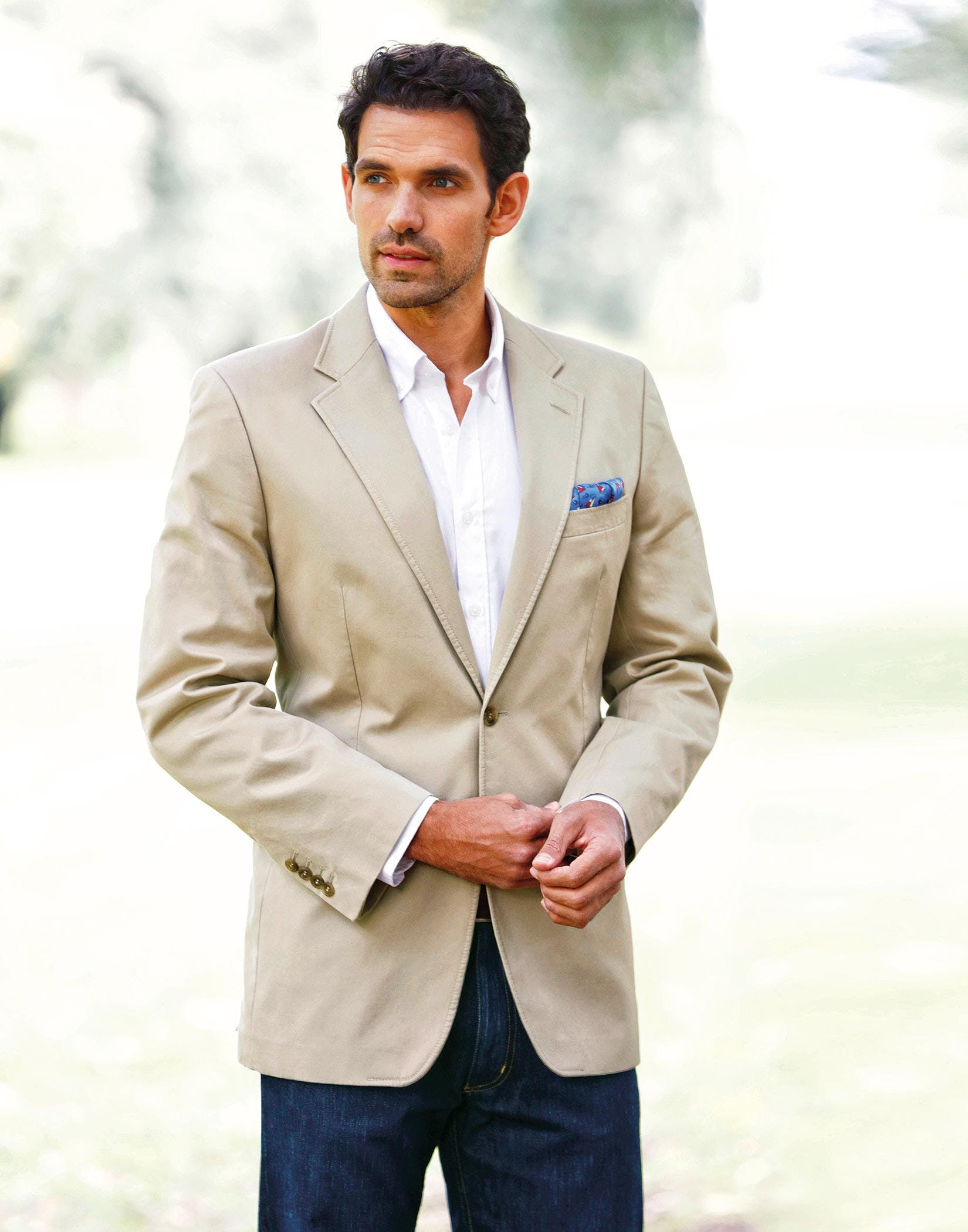 bcaa00d22752 ... going to be suitable for fancier occasions, but also comfortable enough  to wear for long stretches, a cotton twill blazer will fit the bill  perfectly.