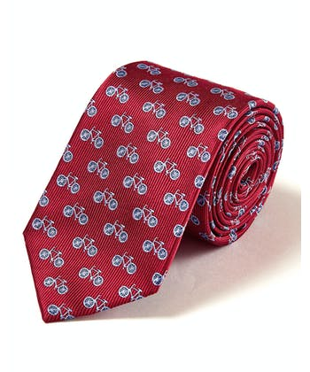 Blue Bicycles on Red - Woven Silk Tie