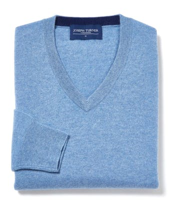 Cashmere V-Neck - Sky Blue
