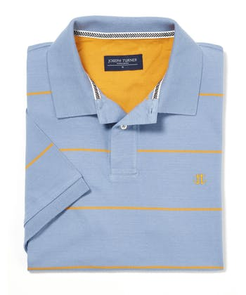 Striped Jersey Polo Shirt - Blue Corn