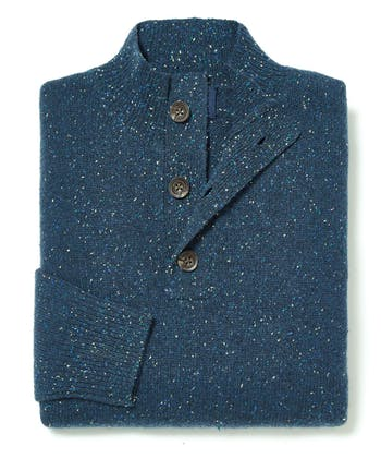 Donegal Jumper - Button Neck - Blue