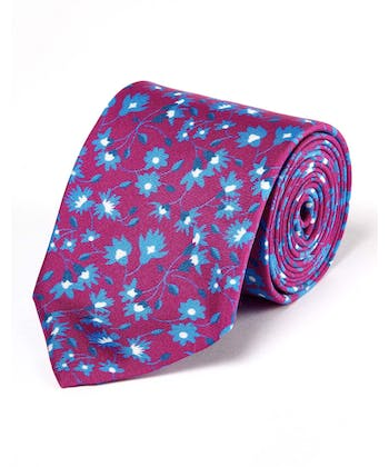 Blue Flowers on Magenta - Printed Silk Tie