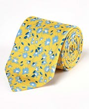 Blue Flowers on Yellow - Printed Silk Tie