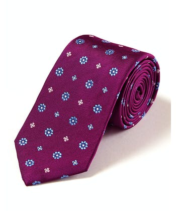 Blue Flowers on Magenta - Woven Silk Tie