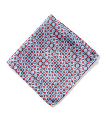 Silk Pocket Square - Blue Flowers on Red