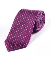 Blue Geometric on Magenta - Woven Silk Tie