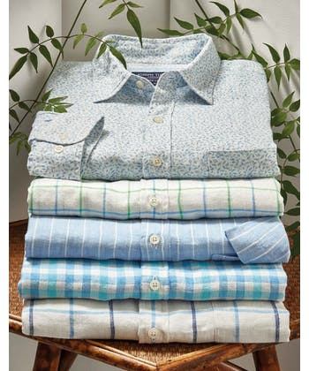 Linen Shirt - Short Sleeve - Blue/Green