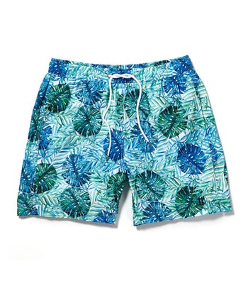 Swimming Trunks - Blue/Green Leaves