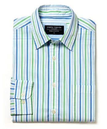 Sandsend Shirt - Long Sleeve - Blue/Green Stripe