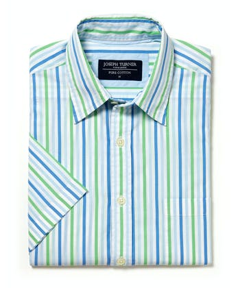 Sandsend Shirt - Short Sleeve - Blue/Green Stripe