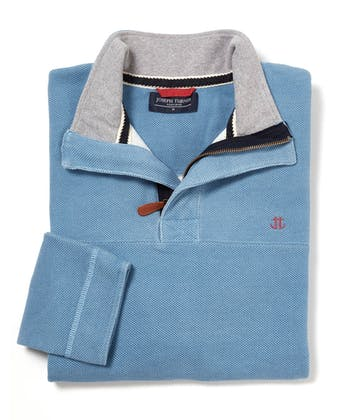 Washed Pique Half-Zip Sweatshirt - Blue