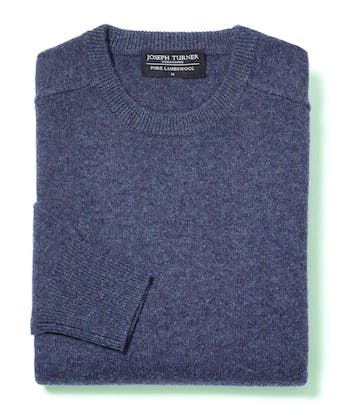 Lambswool Jumper - Crew Neck - Blue