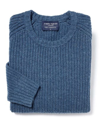 Lambswool Whitby Rib Jumper - Blue