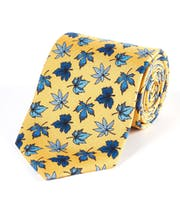 Blue Leaves on Yellow - Printed Silk Tie