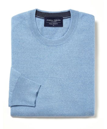 Merino Jumper - Crew Neck - Blue