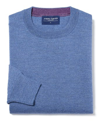 Merino Jumper - Crew Neck - Mid Blue