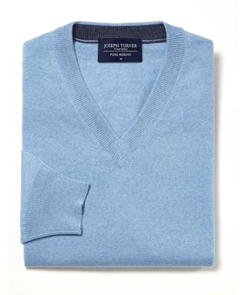 Merino Jumper - V Neck - Blue