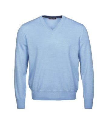 Merino Jumper - V Neck - Sky