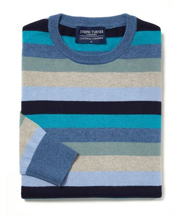 Cotton/Cashmere Stripe Jumper - Blue/Navy/Teal