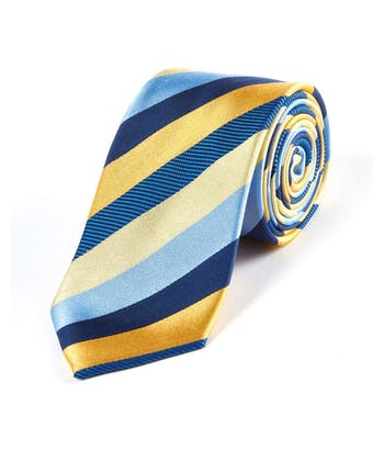 Blue/Navy/Yellow Stripes - Woven Silk Tie
