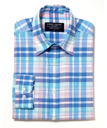 Sandsend Shirt - Long Sleeve - Blue/Pink/Aqua