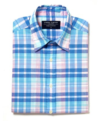 Sandsend Shirt - Short Sleeve - Blue/Pink/Aqua