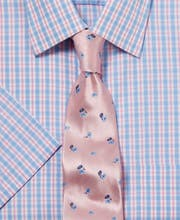 Blue/Pink Check - Short Sleeve Shirt