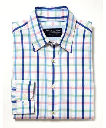 Sandsend Shirt - Long Sleeve - Blue/Pink/Green