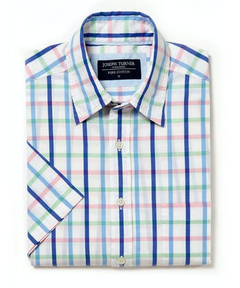 Sandsend Shirt - Short Sleeve - Blue/Pink/Green