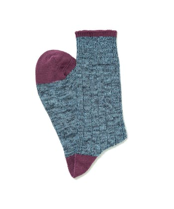 Melange Heel & Toe Socks - Blue/Purple