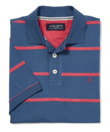 Striped Jersey Polo Shirt - Blue/Rose