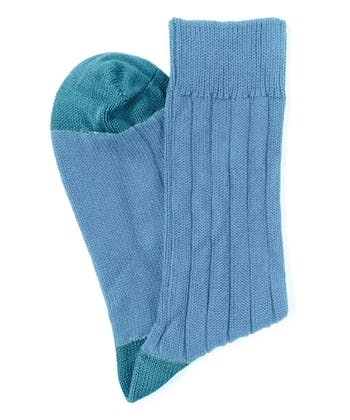 Heel & Toe Cotton Socks - Blue/Teal