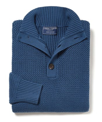 Textured Cotton Button Neck Jumper - Blue