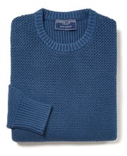Textured Cotton Crew Neck Jumper