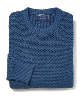 Textured Cotton Crew Neck Jumper - Blue
