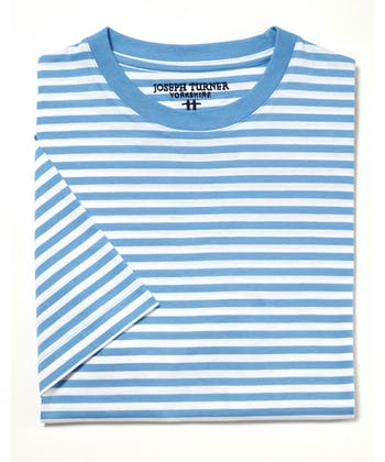 Cotton T-Shirt - Blue/White
