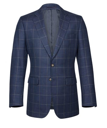 Wool/Linen Jacket - Blue Check