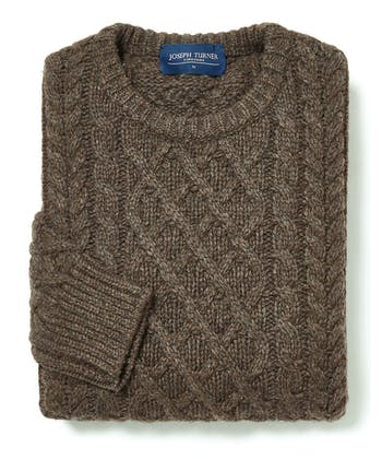 Aran Crew Neck - Brown