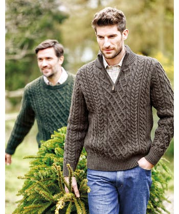 Aran Half-Zip - Brown
