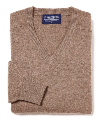 Lambswool Jumper - V Neck - Brown