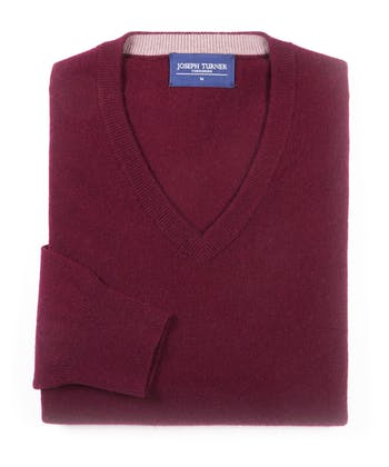 Cashmere V-Neck - Burgundy