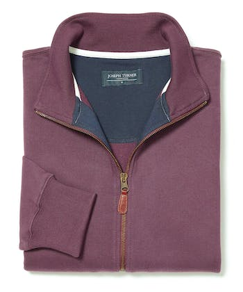 Full-Zip Jersey Sweatshirt - Burgundy