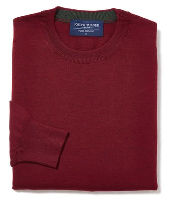 Merino Jumper - Crew Neck - Burgundy