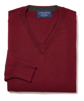 Merino Jumper - V Neck - Burgundy