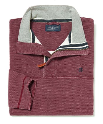 Washed Pique Half-Zip Sweatshirt - Burgundy