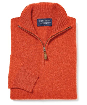 Lambswool Jumper - Half Zip - Burnt Orange